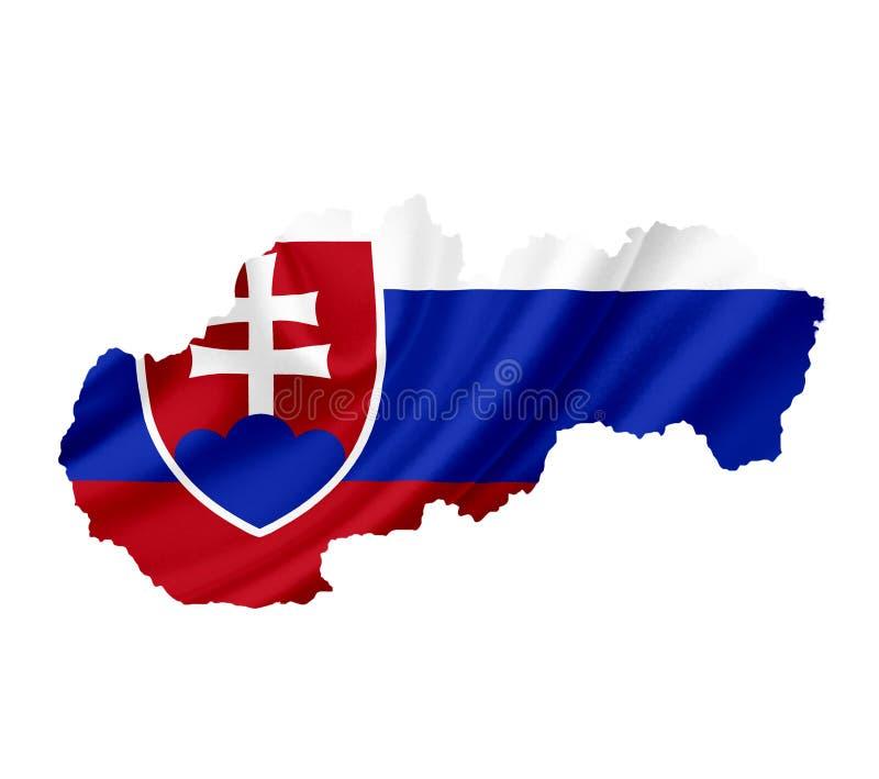 ?versikt av Slovakien med den vinkande flaggan som isoleras p? vit royaltyfria foton