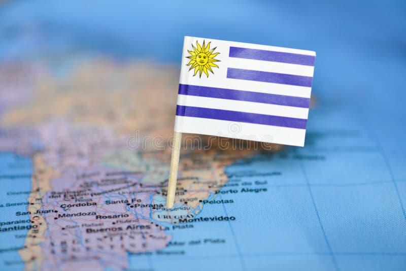?versikt med flaggan av Uruguay royaltyfria bilder