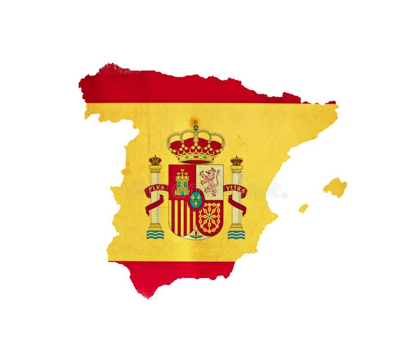 ?versikten av Spanien isolerade royaltyfri illustrationer