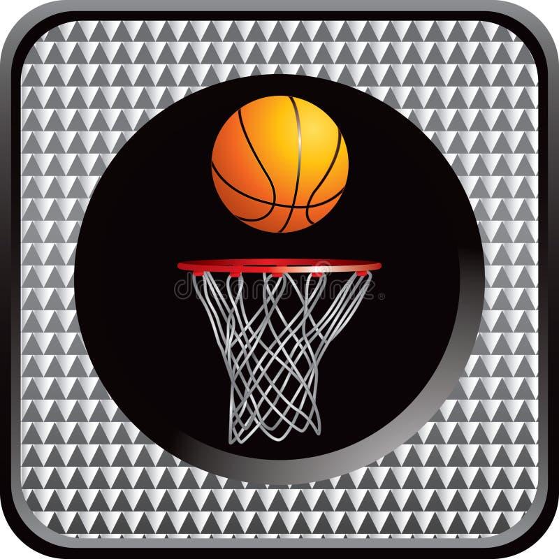 Versilbern Sie überprüfte Web-Taste mit Basketball und Band vektor abbildung