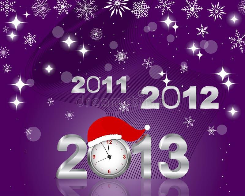 Versilbern Sie 2011, 2012 und 3d 2013 mit Borduhr. vektor abbildung