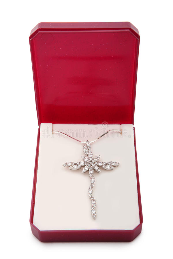 Versilbern Sie Halskette mit Queranhänger lizenzfreies stockbild