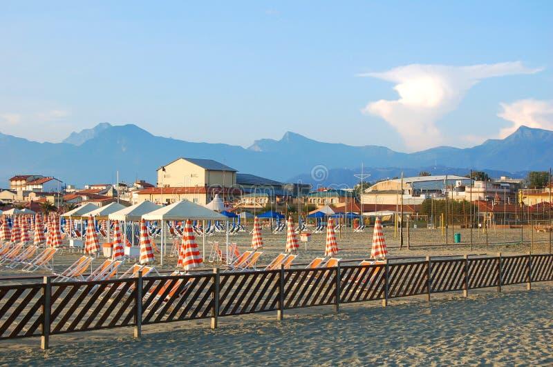 Versilia, Viareggio沙子海滩,意大利 库存照片