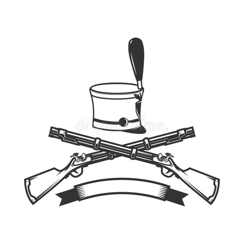 Versinnbildlichen Sie Schablone mit gekreuzten Gewehren und Husarhut Gestaltungselement für Logo, Aufkleber, Zeichen vektor abbildung