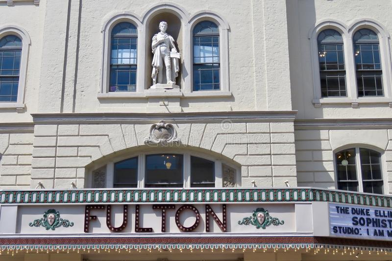 The Fulton Theatre, located in downtown Lancaster, PA. Lancaster, PA, USA - April 23, 2019: The Fulton Theatre, located in downtown Lancaster, is home to live stock photo