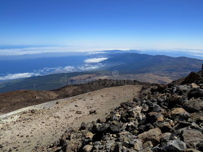 Summit of El Teide, Tenerife, Canary Islands. At 3,718m above sea level, Tenerife`s volcano El Teide is the highest point in Spain. Seeing as the summit is only stock photo
