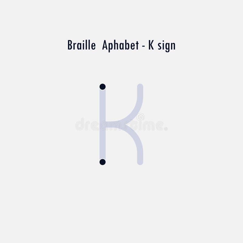 Version anglaise créative d'élément de conception d'alphabet de Braille Brai illustration de vecteur
