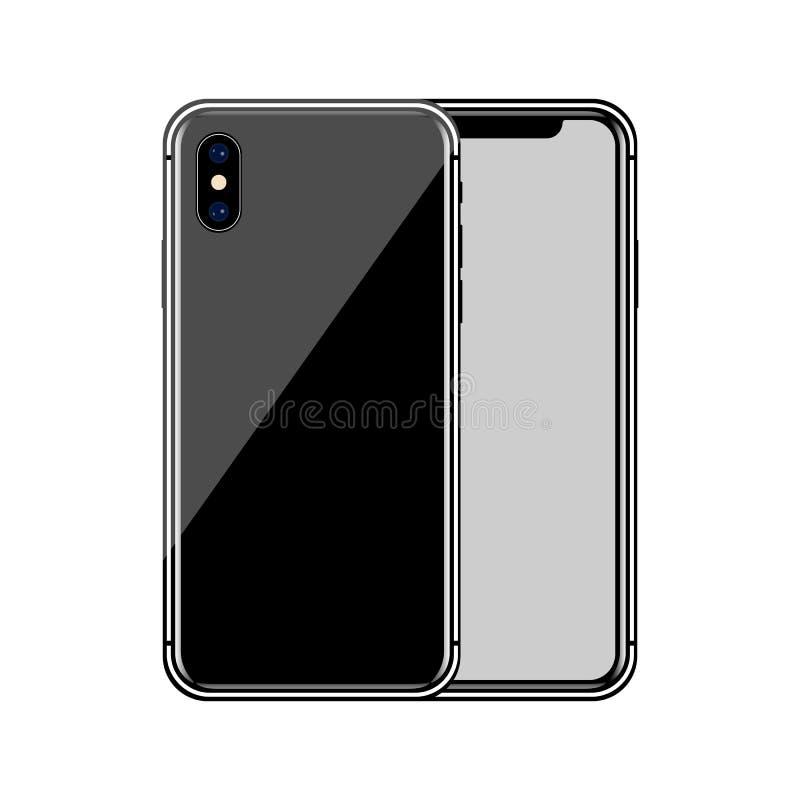 version av den slanka smartphonen för svart som är liknande till iphone x med den tomma skärmen Realistisk vektorillustration vektor illustrationer