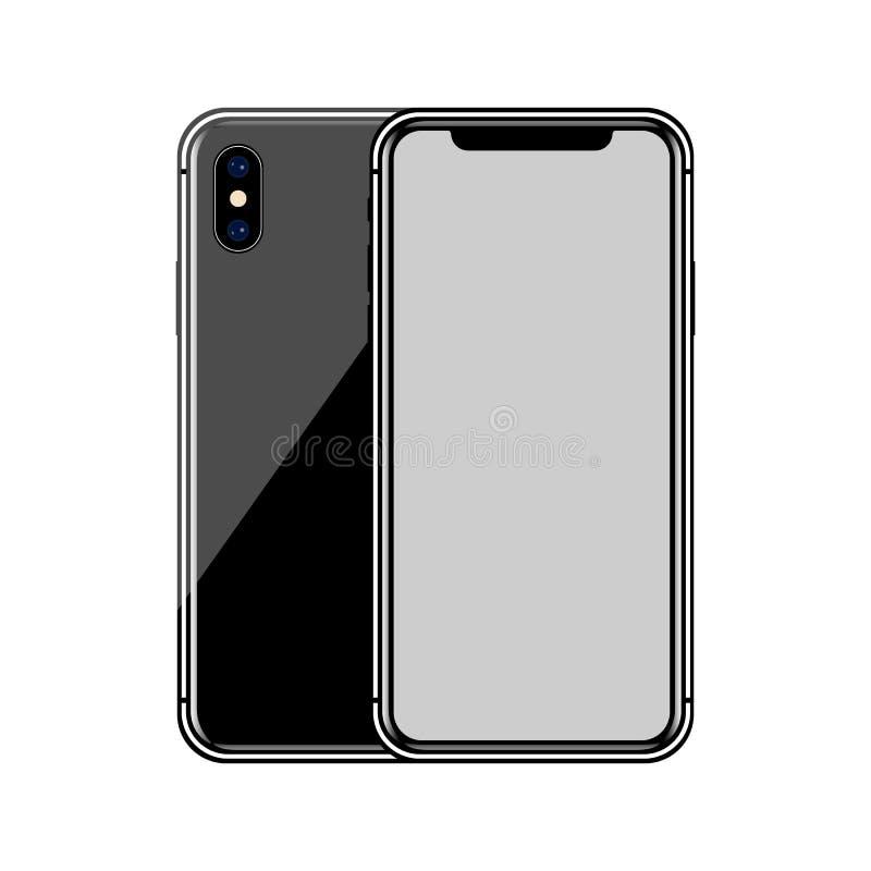 version av den slanka smartphonen för svart som är liknande till iphone x med den tomma skärmen Realistisk vektorillustration stock illustrationer