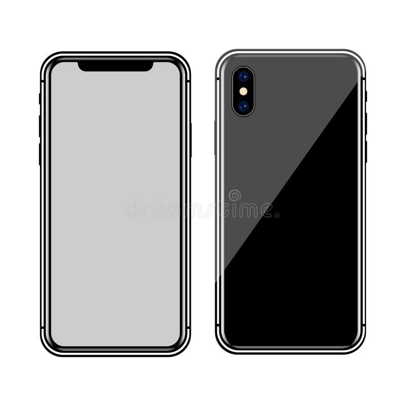 version av den slanka smartphonen för svart som är liknande till iphone x med den tomma skärmen Realistisk vektorillustration royaltyfri illustrationer