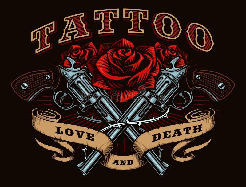 Version de couleur d'armes à feu et de roses illustration libre de droits