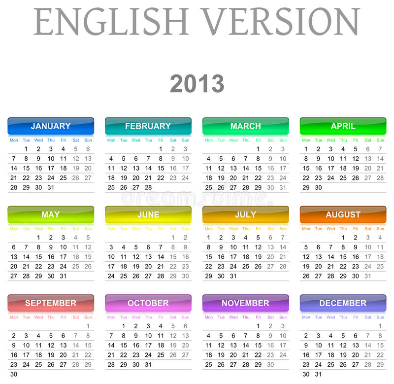 version des 2013 anglais de calendrier illustration de vecteur