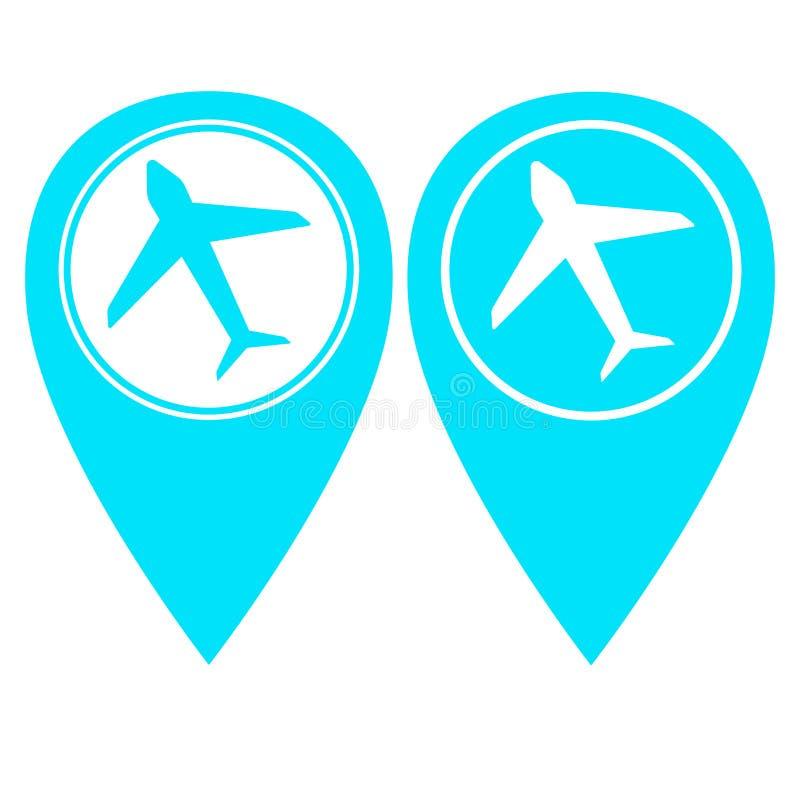 Version för färg för flygplatsstiftpekare itu royaltyfri illustrationer