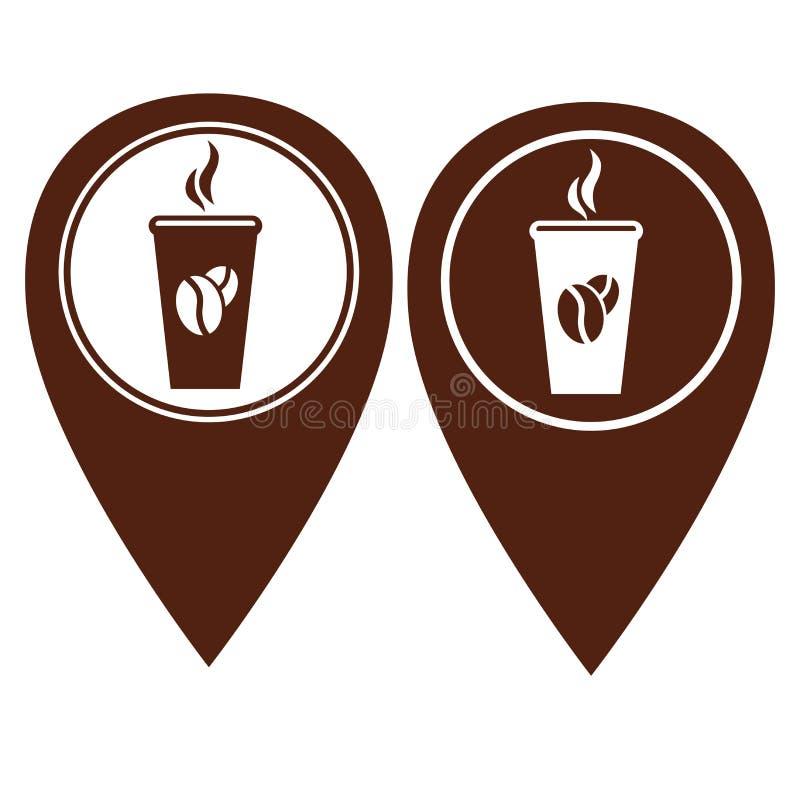 Version för färg för kaffestiftpekare itu stock illustrationer