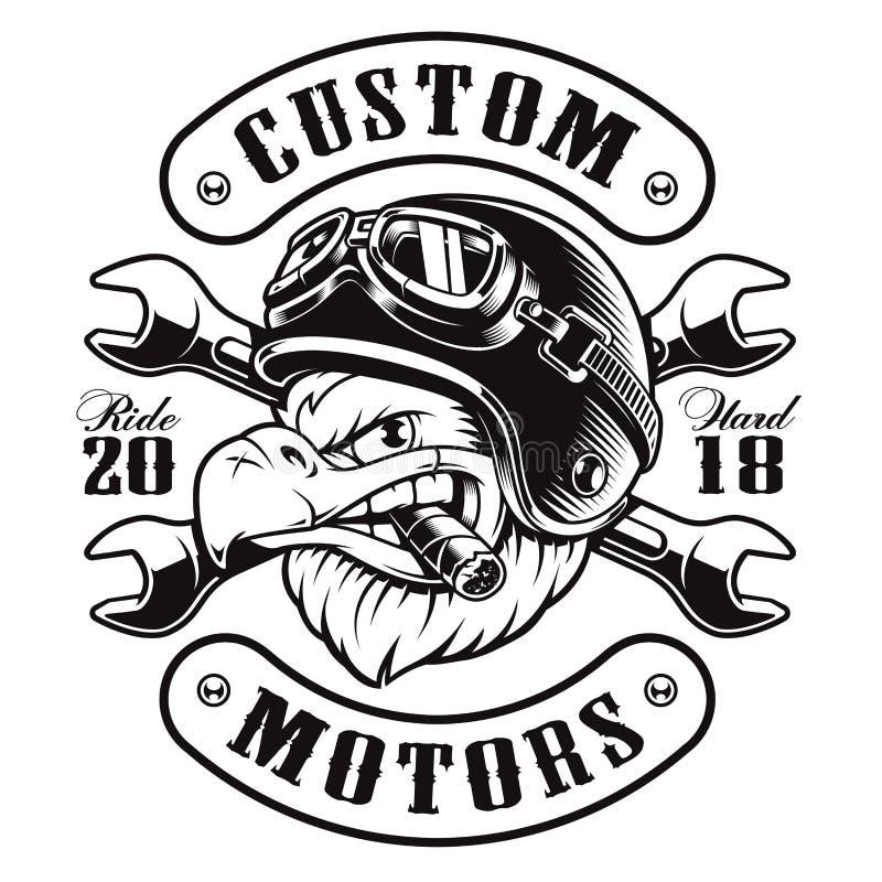 Version för monokrom för Eagle cyklistt-skjorta design vektor illustrationer