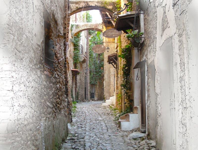 Version Painterly de rue minuscule dans Bussana Vecchia, Italie illustration stock