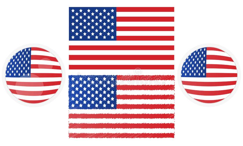 Version quatre de drapeau américain image stock