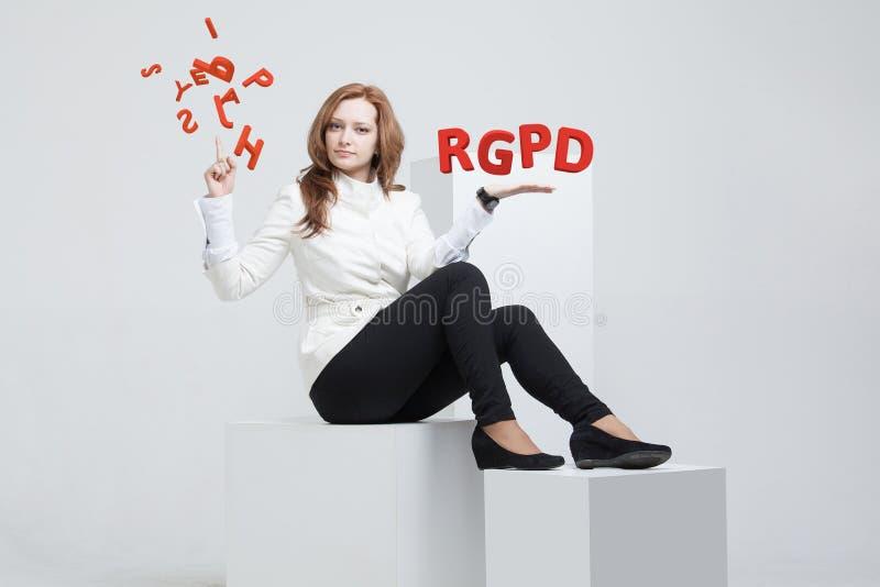 Versione francese ed italiana di RGPD, dello Spagnolo, di versione di GDPR: Datos di Reglamento General de Proteccion de Dati gen fotografia stock