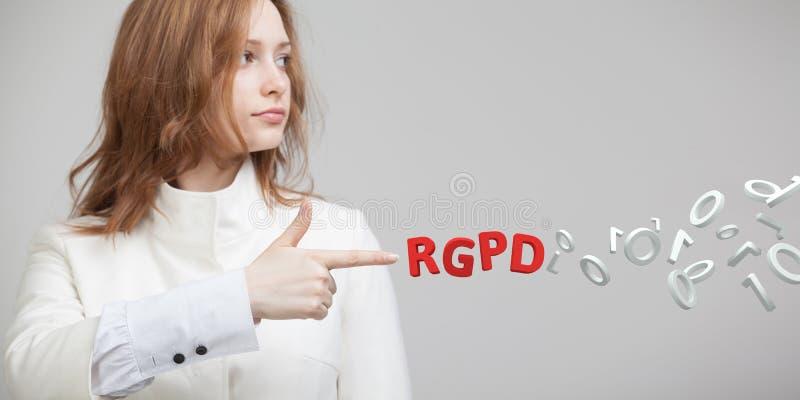 Versione francese ed italiana di RGPD, dello Spagnolo, di versione di GDPR: Datos di Reglamento General de Proteccion de Dati gen fotografia stock libera da diritti
