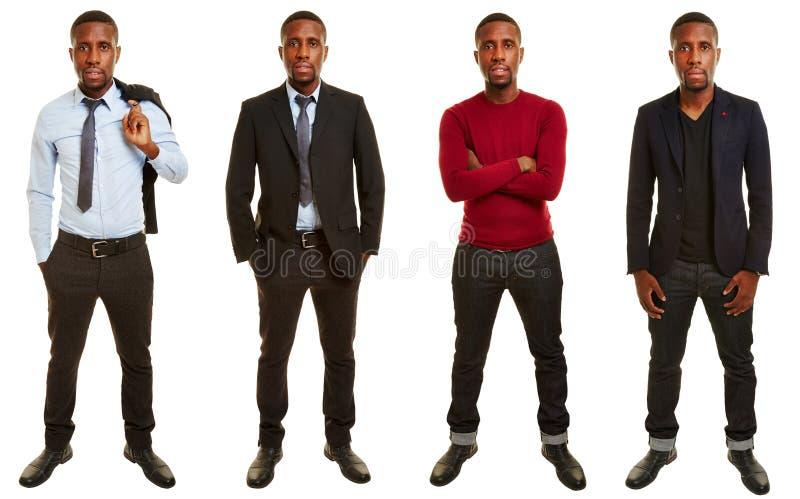 Versioner av den afrikanska mannen med olika dräkter royaltyfri foto
