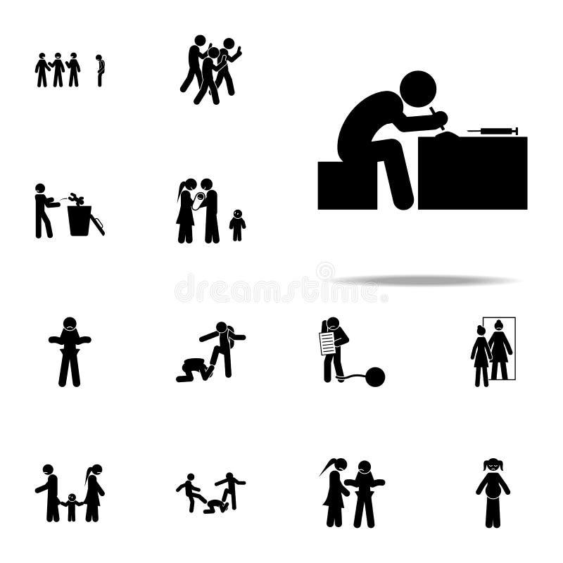 verslaafde, drugpictogram Voor Web wordt geplaatst en mobiel de pictogrammenalgemeen begrip van de jeugd sociaal die kwesties stock illustratie
