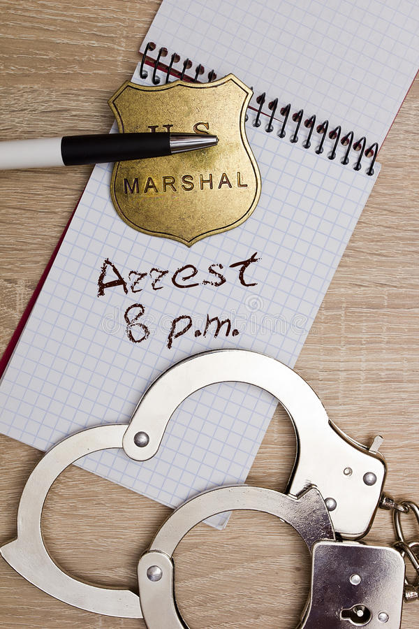 Verslag van de arrestatie stock afbeeldingen