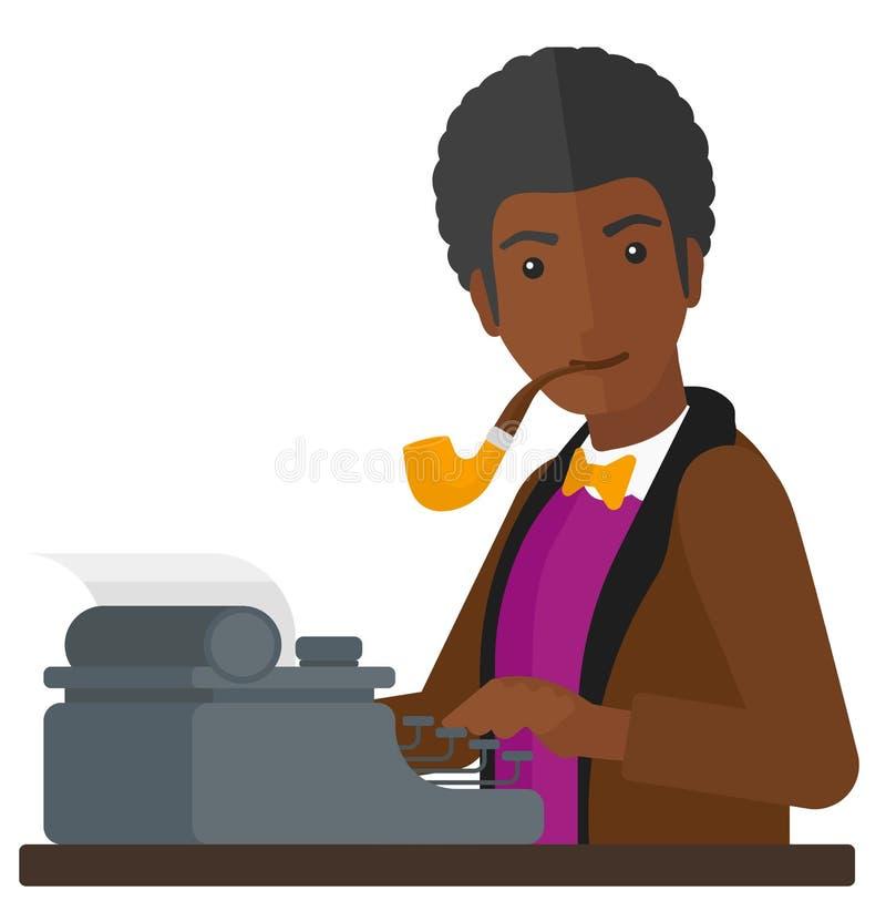 Verslaggever die bij schrijfmachine werken royalty-vrije illustratie