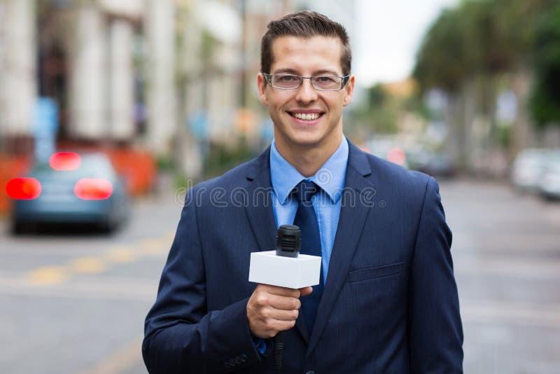 Verslaggever het levende uitzenden stock fotografie