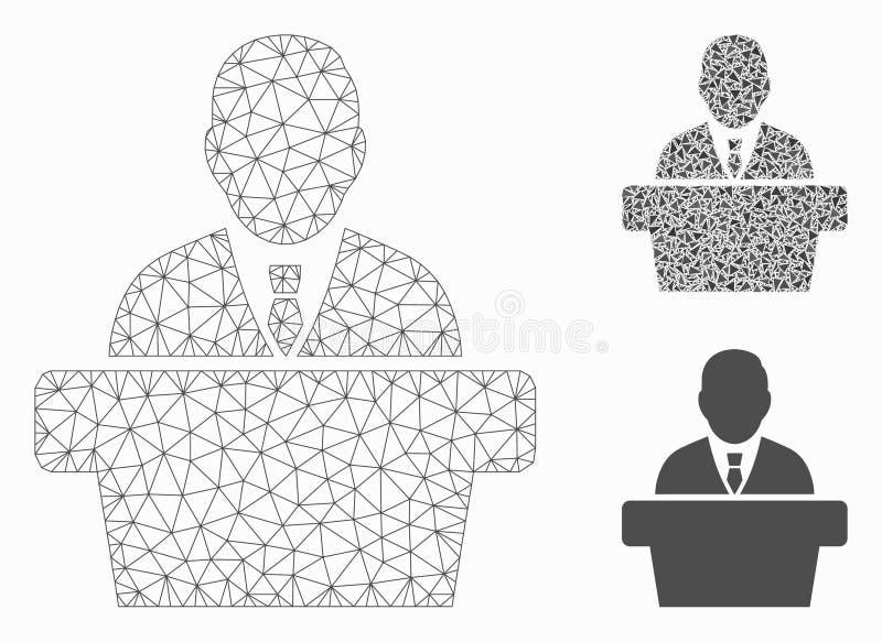 Verslaggever Vector Mesh Wire Frame Model en het Pictogram van het Driehoeksmozaïek royalty-vrije illustratie