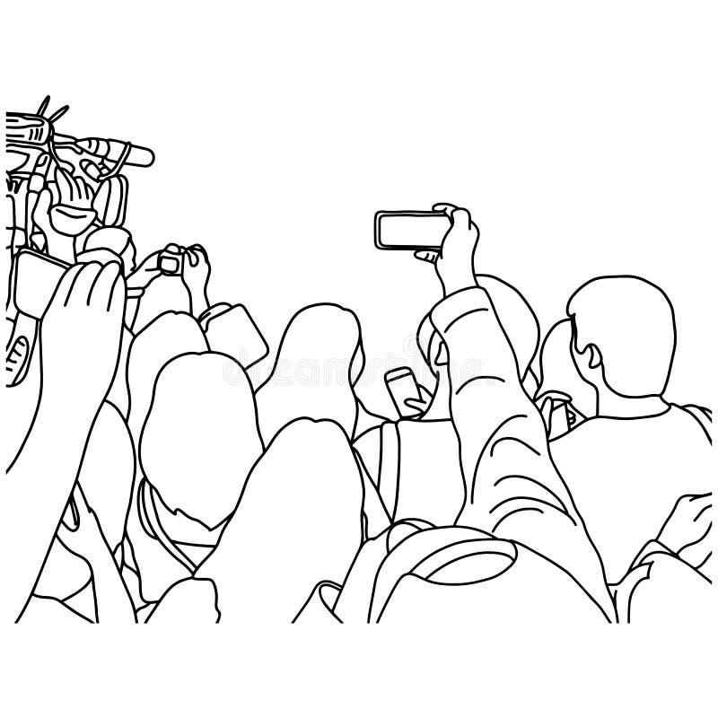 Verslaggeversgesprek met mobiele telefoon en copyspace vectordie de krabbelhand van de illustratieschets met zwarte geïsoleerde l royalty-vrije illustratie