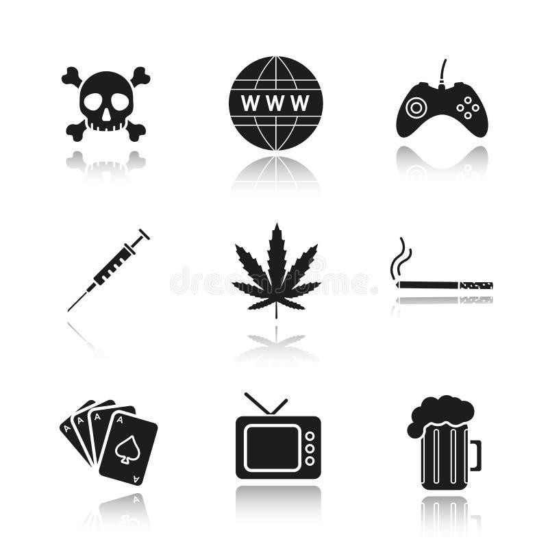 Verslaving en slechte geplaatste de schaduw zwarte pictogrammen van de gewoontendaling stock illustratie