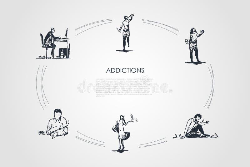 Verslaving - roken, alcoholisme, drugsverslaving, snel voedsel, koffie en zakgeld die vectorconceptenreeks wijden vector illustratie
