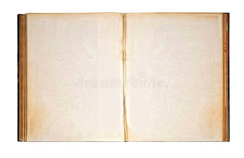 Versleten Blanco pagina's van Oud Open Antiek Boek royalty-vrije stock afbeelding