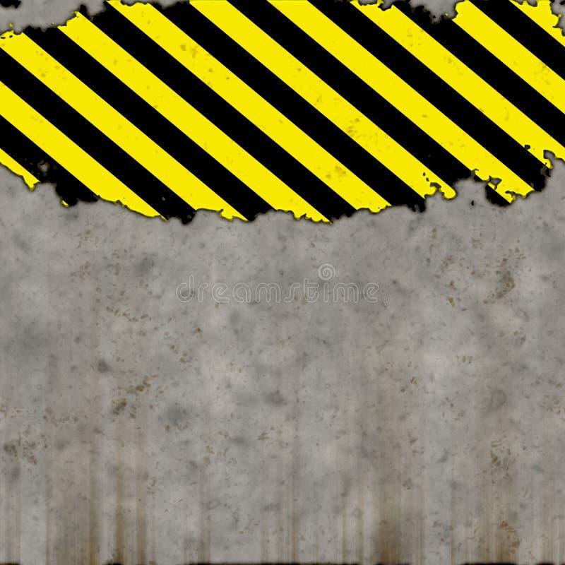 Versleten concrete muur met gevaarstrepen stock illustratie