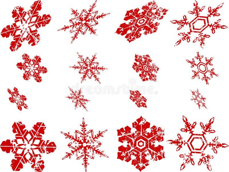 Versleten Sneeuwvlokken royalty-vrije illustratie