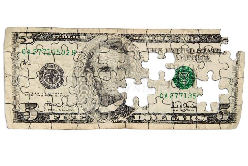 Versleten Vijf dollarrekening royalty-vrije stock foto