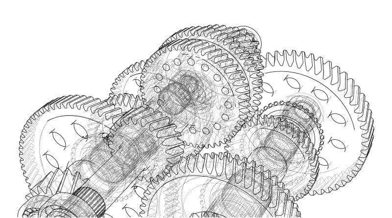 Versnellingsbakschets Vector royalty-vrije illustratie