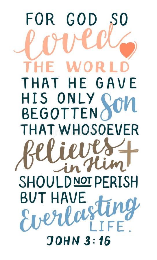 Verso de oro Juan 3 de la biblia 16 para dios así que amados el mundo, hecho letras de la mano con el corazón y cruz stock de ilustración