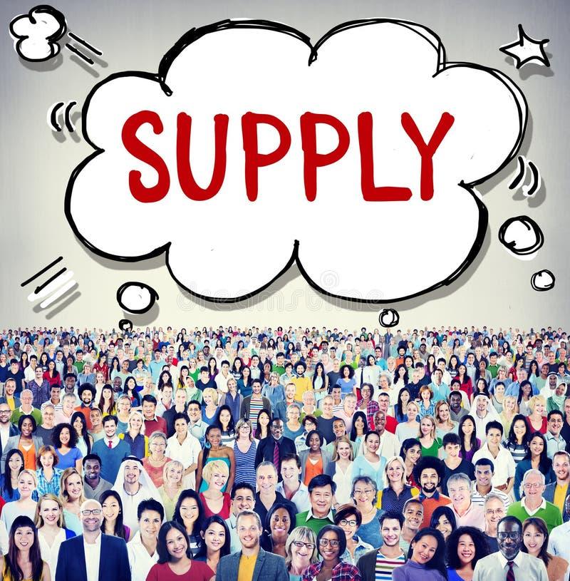 Versorgungs-Marketing-auf Lager logistisches Verteilungs-Geschäfts-Konzept stockbild