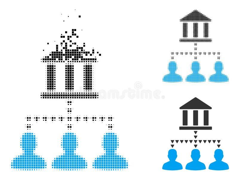Versplinterd Gestippeld Halftone Bank de Verbindingenpictogram van de de Bouwcliënt stock illustratie