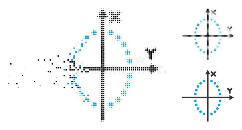 Versplinterd het Perceelpictogram van de Pixel Halftone Ellips stock illustratie