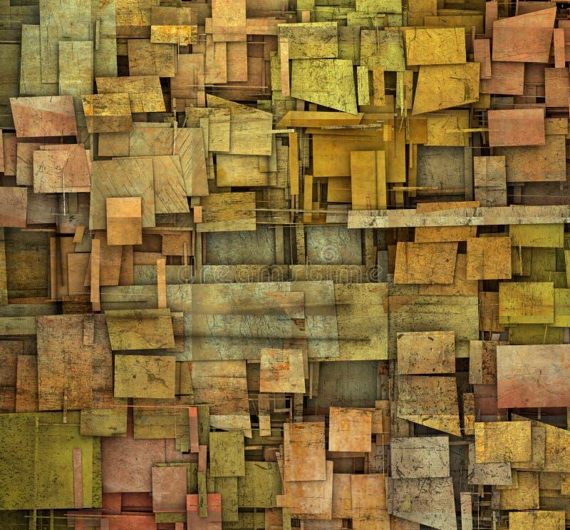 Versplinterde oranje, roze en gele vierkante bac van het tegel grunge patroon vector illustratie