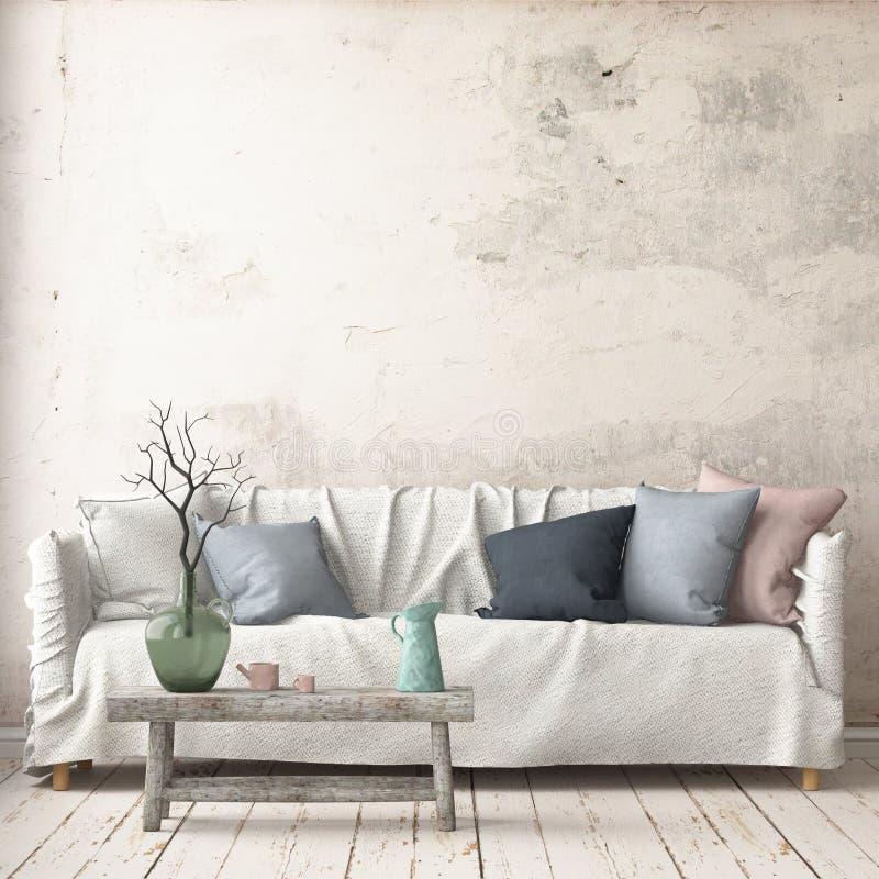 Verspotten Sie herauf Innenraum in der skandinavischen Art mit einem Sofa Wiedergabe 3d lizenzfreie abbildung