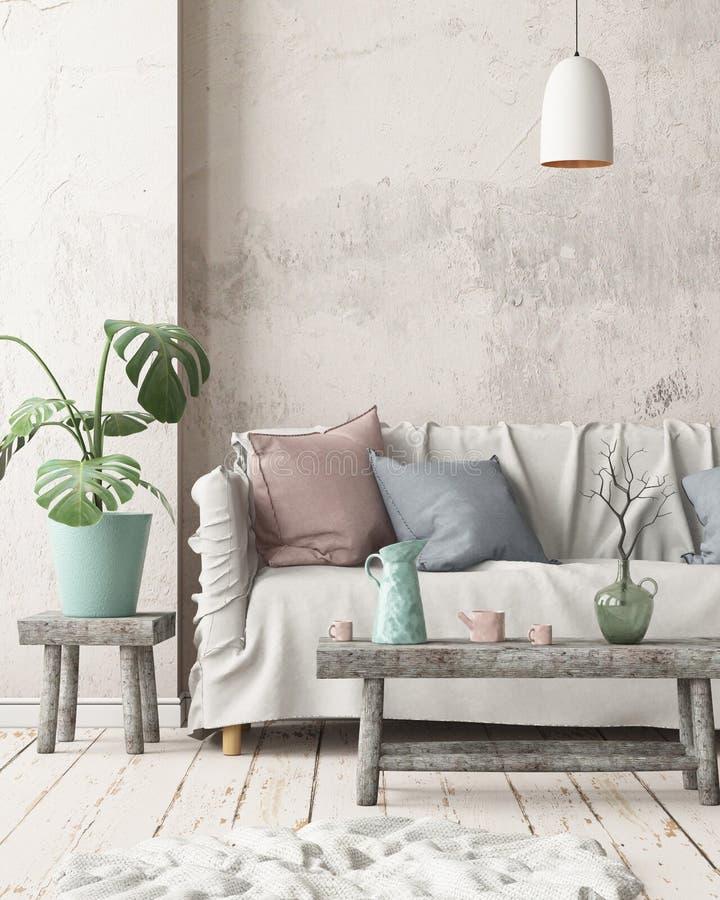 Verspotten Sie herauf Innenraum in der skandinavischen Art mit einem Sofa Wiedergabe 3d stock abbildung