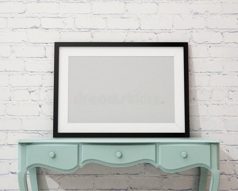 Verspotten Sie herauf leeren schwarzen Bilderrahmen auf dem weißen Schreibtisch und der Wand, Hintergrund stock abbildung