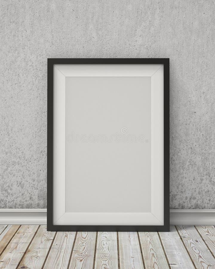 Verspotten Sie herauf leeren schwarzen Bilderrahmen auf einer alten Wand und einem Weinleseboden stockbilder
