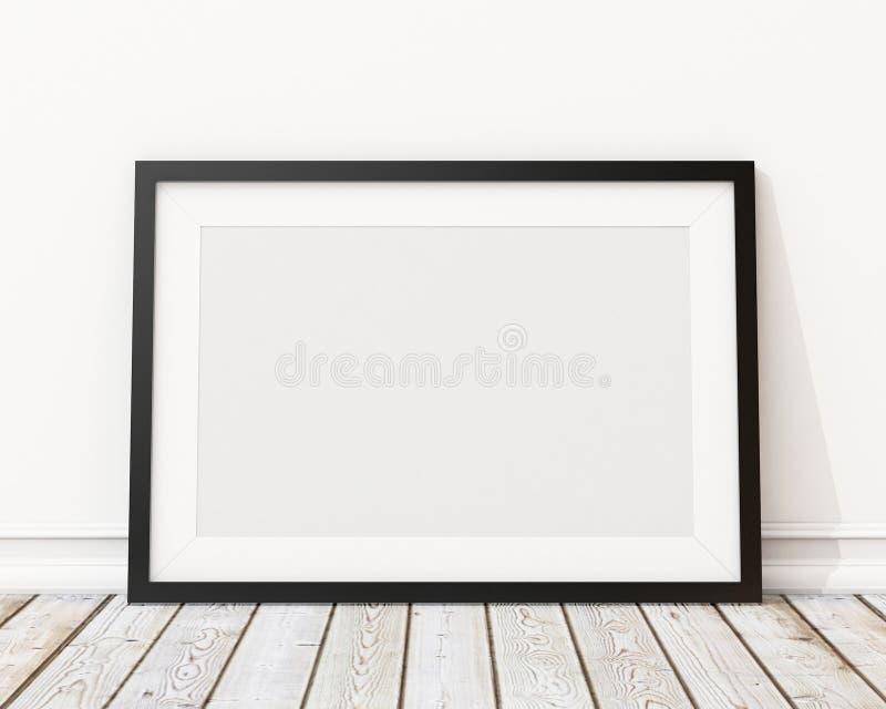 Verspotten Sie herauf leeren schwarzen horizontalen Bilderrahmen auf der Wand und dem Boden stock abbildung