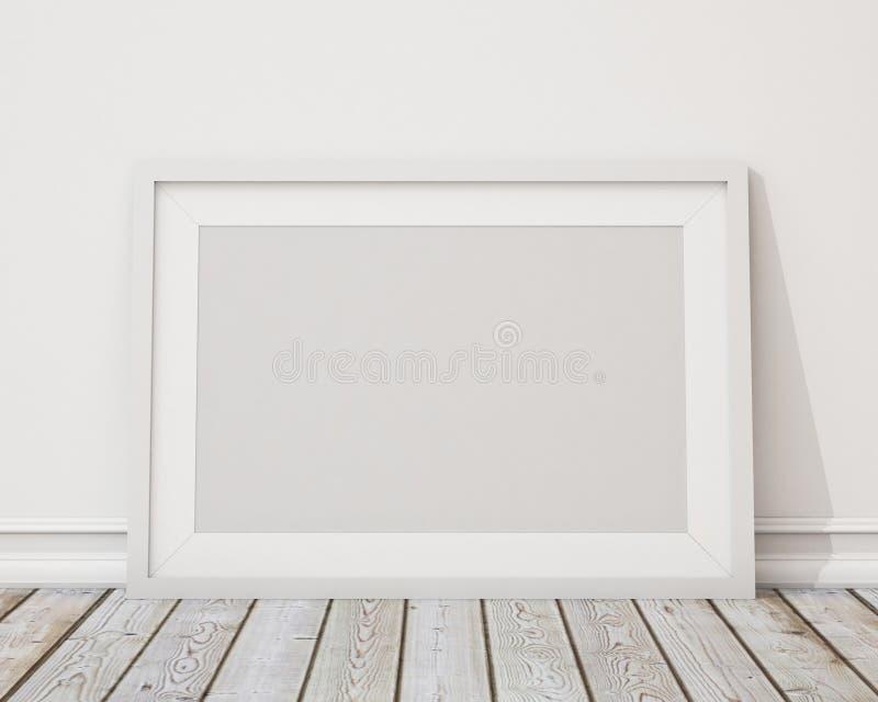 Verspotten Sie herauf leeren weißen horizontalen Bilderrahmen auf der Wand und dem Weinleseboden lizenzfreie abbildung