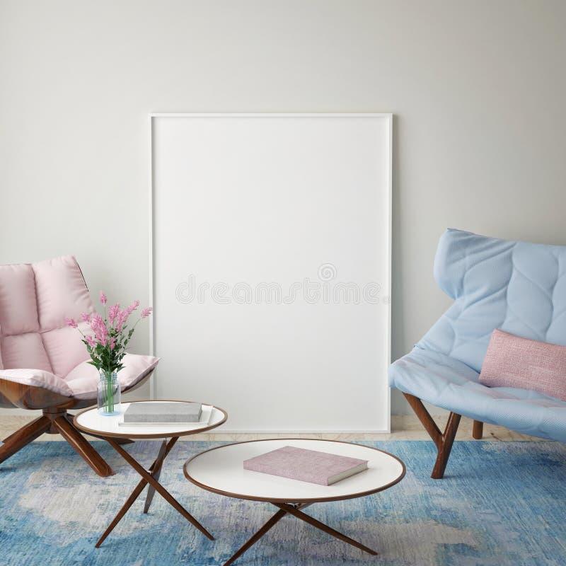 Verspotten Sie herauf leeres Plakat auf der Wand des Hippie-Wohnzimmers, lizenzfreie abbildung