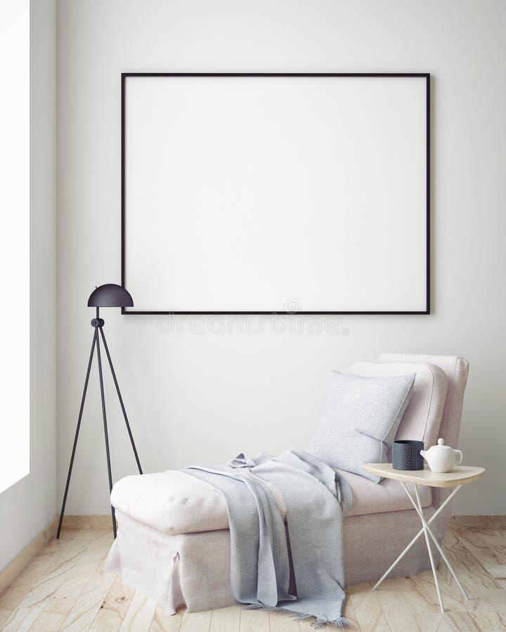 Verspotten Sie herauf leeres Plakat auf der Wand des Hippie-Wohnzimmers, vektor abbildung